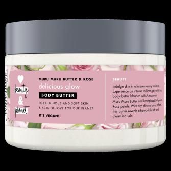 Vartalovoipakkauksen etuosa Love Beauty Planet Murumuru-voi ja ruusu -vartalovoi Delicious Glow 250 ml