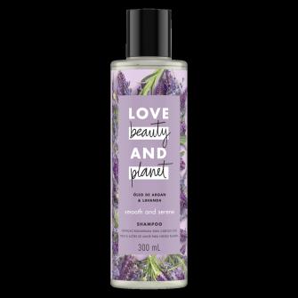 Frente da embalagem do shampoo Love Beauty and Planet óleo de argan & lavanda 300 ml