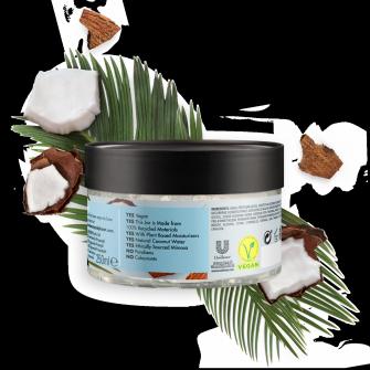 Kosteuttavan vartalohoitogeelipakkauksen takaosa Love Beauty Planet Kosteuttava kookosvesi ja mimosankukka -hoitogeeli vartalolle Runsaasti kosteuttava 250 ml