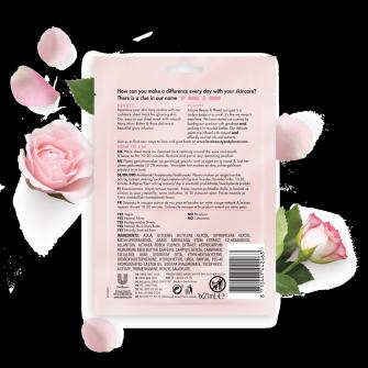 Kasvokangasnaamiopakkauksen takaosa Love Beauty Planet Murumuru-voi ja ruusu -kangasnaamio kasvoille Hehkuva rusotus 21 ml