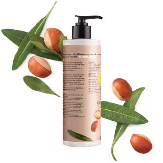 Achterkant bodylotionverpakking Love Beauty Planet sheaboter & sandelhout bodylotion fluweelzachte shea 400 ml