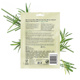 Back of sheet mask pack Love Beauty Planet Tea Tree Oil & Vetiver Sheet Mask Rapid Reset 21ml