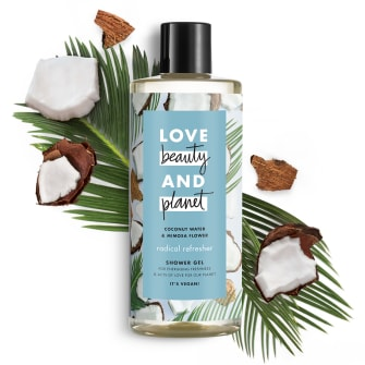 Predná strana obalu sprchovacieho gélu Love Beauty and Planet Radical Refresher s kokosovou vodou a mimózou 500 ml