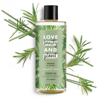 Voorkant Love Beauty Planet Douchegel Delicieuze detox met rozemarijn en vetiver 500 ml