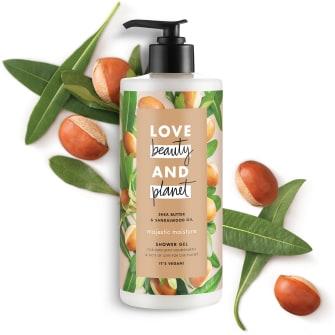 Front of shower gel pack Love Beauty Planet Shea Butter & Sandalwood Shower Gel Majestic Moisture 500ml