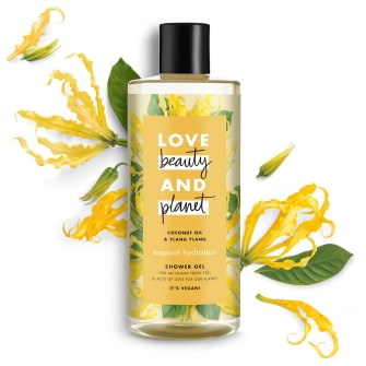 Voorzijde van douchegelpack Love Beauty and Planet® douchegel Tropische hydratatie kokosolie & ylang-ylang 500 ml