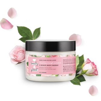 Forsiden av hårmasken Love Beauty Planet Muru Muru Butter & Rose Hair Masque Blooming Colour 300ml