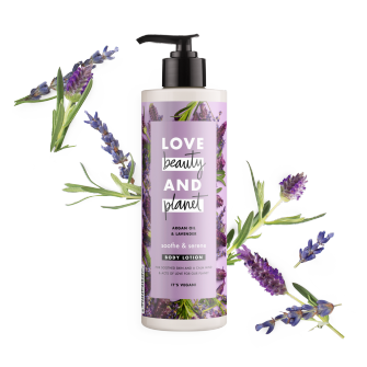 Front of body lotion pack Love Beauty Planet Argan Oil & Lavender Body Lotion 400ml