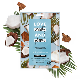 Front of sheet mask pack Love Beauty Planet Coconut Water & Mimosa Sheet Mask 21ml