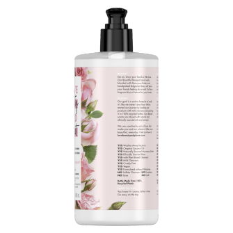 Back of liquid hand wash pack Love Beauty Planet Murumuru Butter & Rose Bountiful Bouquet Liquid Hand Wash 400ml