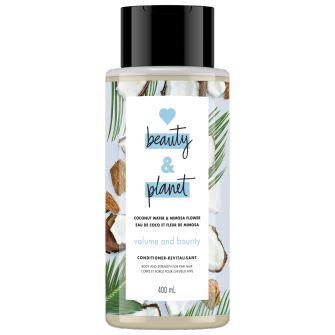 A front of pack image of Love Beauty & Planet Coconut Water & Mimosa Flower Conditioner
