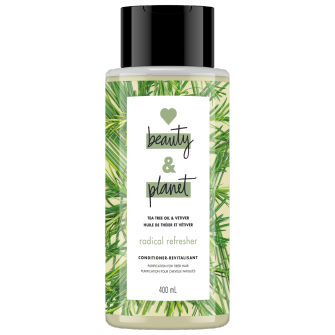 A front of pack image of Love Beauty & Planet Tea Tree Oil & Vetiver Conditioner
