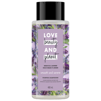 A front of pack image of Love Beauty & Planet Argan Oil & Lavender Shampoo