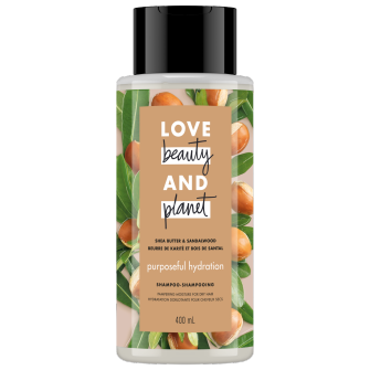 A front of pack image of Love Beauty & Planet Shea Butter & Sandalwood Shampoo