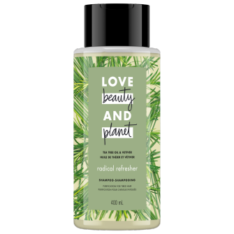 Image de l'emballage du Tea Tree Oil & Vetiver Shampoo de Love Beauty & Planet