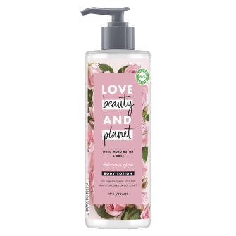 Front of body lotion pack Love Beauty Planet Muru Muru Butter & Rose Body Lotion Delicious Glow 400ml