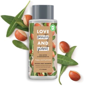 Framsida av schampoförpackning Love Beauty Planet Kokosvatten & Mimosa schampo Volume & Bounty 400 ml