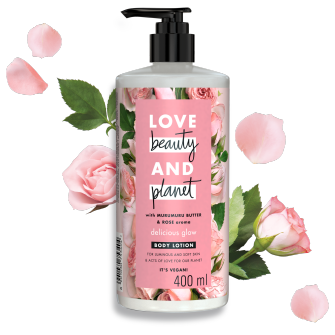 Front of body butter pack Love Beauty Planet Murumuru Butter & Rose Body Butter Delicious Glow 400ml
