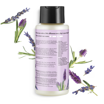 Bagian belakang kemasan Love Beauty and Planet Argan Oil & Lavender Shampoo ukuran 400 ml