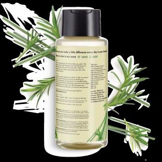 Bagian belakang kemasan Love Beauty and Planet Tea tree Oil & Vetiver Shampoo ukuran 400 ml