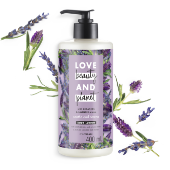 Front of body lotion pack Love Beauty Planet Argan Oil & Lavender Body Lotion Argan Oil & Lavender Soothe & Serene 13.5oz