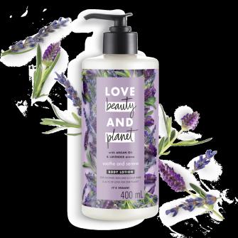 Tampak depan kemasan Love Beauty and Planet Argan Oil & Lavender Body Lotion ukuran 400 ml