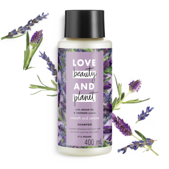 Tampak depan kemasan Love Beauty and Planet Argan Oil & Lavender Shampoo ukuran 400 ml