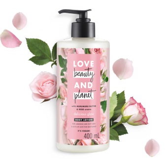 Front of body lotion pack Love Beauty Planet Murumuru Butter & Rose Body Lotion Delicious Glow 400ml