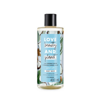 Bagian belakang kemasan Love Beauty and Planet Coconut Water & Mimosa Flower Body Wash ukuran 400 ml