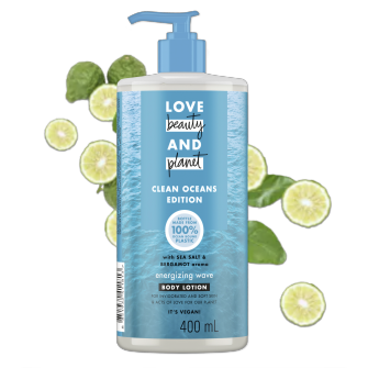 Tampak depan kemasan Love Beauty and Planet Sea Salt & Bergamot ukuran 400 ml