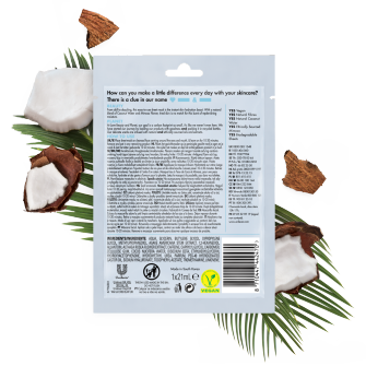 Back of sheet mask pack Love Beauty and Planet Coconut Water & Mimosa Sheet Mask 21ml