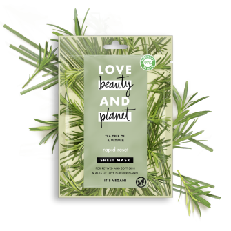 Front of sheet mask pack Love Beauty Planet Tea Tree Oil & Vetiver Sheet Mask Rapid Reset 21ml
