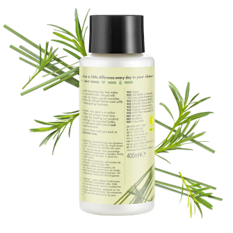 Achterkant conditionerverpakking Love Beauty Planet rozemarijn & vetiver conditioner heerlijke detox 400 ml