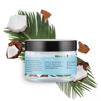 Zadná strana obalu telového hydratačného gélu Love Beauty and Planet Luscious Hydration s kokosovou vodou a mimózou 250 ml