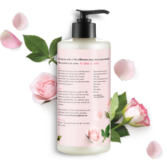 Zadná strana obalu telového mlieka Love Beauty and Planet Delicious Glow s maslom murumuru a ružou 400 ml