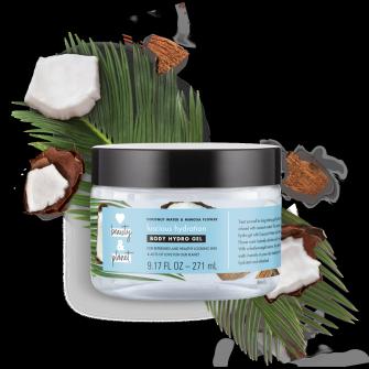 Predná strana obalu telového hydratačného gélu Love Beauty and Planet Luscious Hydration s kokosovou vodou a mimózou 250 ml