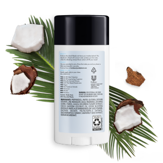 Back of deodorant pack Love Beauty and Planet Coconut Water & Mimosa Flower 2.95oz