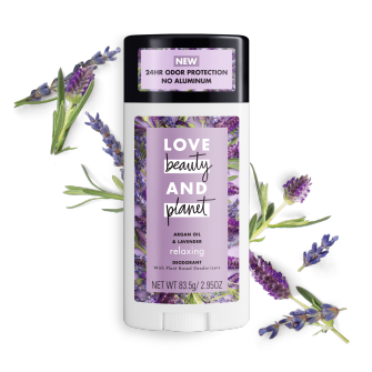 Front of deodorant pack Love Beauty and Planet Argan Oil & Lavender 2.95oz