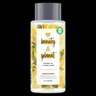 Voorzijde van conditionerpack Love Beauty and Planet conditioner Hoop & herstel kokosolie & ylang-ylang 400 ml