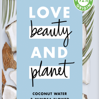 Voorzijde van shampoopack Love Beauty Planet shampoo Volume & weldaad kokoswater & mimosabloem 400 ml