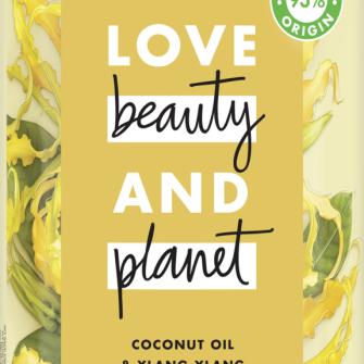 Voorzijde van shampoopack Love Beauty and Planet shampoo Hoop & herstel kokosolie & ylang-ylang 400 ml
