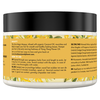 Baksiden av hårmasken Love Beauty Planet Coconut Oil & Ylang Ylang Chair Masque Hope & Repair 300ml