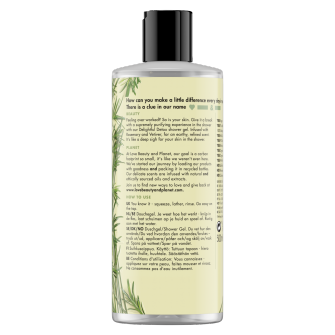 Back of shower gel pack Love Beauty Planet Rosemary & Vetiver Shower Gel Delightful Detox 500ml