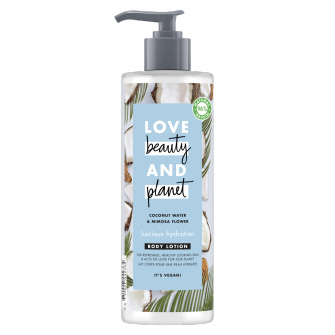 Voorkant Love Beauty Planet Bodylotion Weelderige hydratatie met kokoswater en mimosa 400 ml