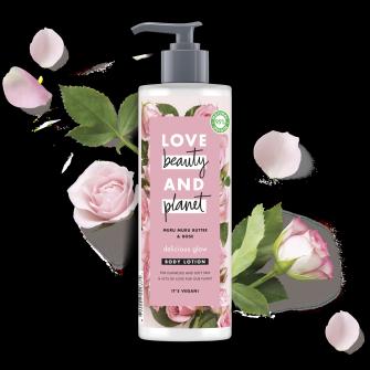 Vartalovoidepakkauksen etuosa Love Beauty Planet Murumuru-voi ja ruusu -vartalovoide Delicious Glow 400 ml