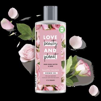 Suihkugeelipakkauksen etuosa Love Beauty Planet Murumuru-voi ja ruusu -suihkugeeli Bountiful Moisture 500 ml