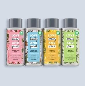 Four shampoo bottles