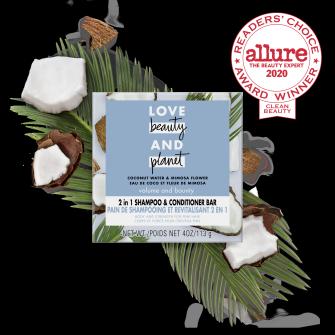 Front of shampoo bar pack Love Beauty Planet 2in1 Coconut Water & Mimosa Flower Shampoo Bar Voluma & Bounty 4oz