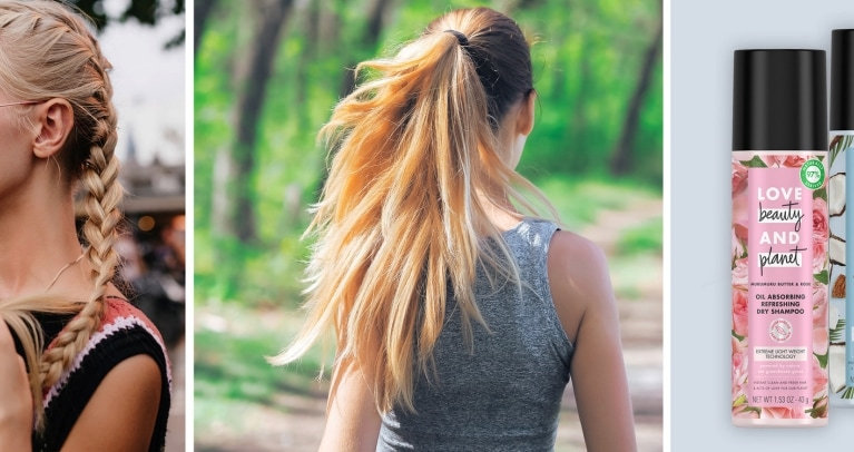 Post Workout Hair Tips: Header Image of Woman Jogging and Love Beauty and Planet Dry Shampoos