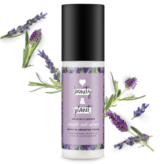 Front of leave in conditioner pack Love Beauty Planet Argan Oil & Lavender Leave In Conditioner Smooth & Serene 4oz